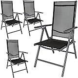 TecTake Aluminium Klappstuhl Gartenstuhl Set verstellbar mit Armlehnen - Diverse Farben und Mengen (Anthrazit | 4er Set | Nr. 401634)