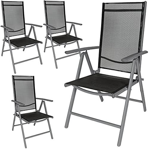 TecTake Lot de aluminium chaises de jardin pliante avec accoudoir - diverses couleurs et quantités au choix - (Anthracite   4 chaises   no. 401634)