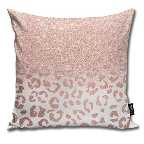 Federa decorativa per cuscino da divano, stile moderno, alla moda, in finto oro rosa con glitter ombre, motivo leopardo, per la casa, per divano, idea regalo, 45,7 x 45,7 cm
