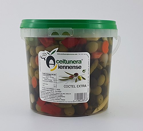 Cóctel Extra   Mezcla Encurtidos   Aceitunera Jiennense   Cubo 3,8 Kgs (Peso neto )