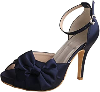 Wedopus MW963 Women's Peep Toe High Heels Pumps Bowtie Pleated Platform Satin Wedding Bridal Shoes