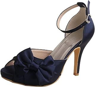 Wedopus MW963 Women's Peep Toe High Heels Pumps Bowtie Pleated Platform Satin Wedding Bridal Shoes