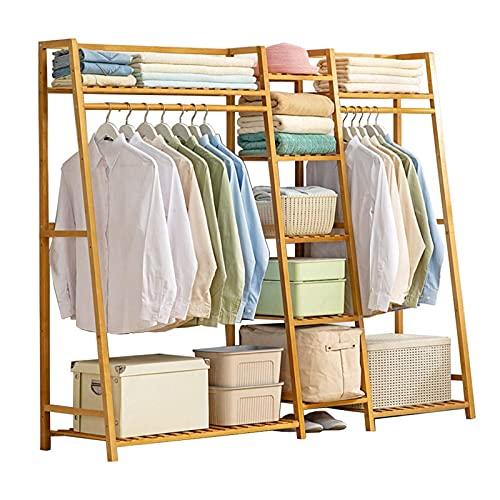 Perchero de madera para ropa, perchero para armario Perchero para ropa Perchero grande para el hogar con perchero para zapatos para dormitorio, sala de estar, multiusos (tamaño: 160 * 40 * 140 cm)