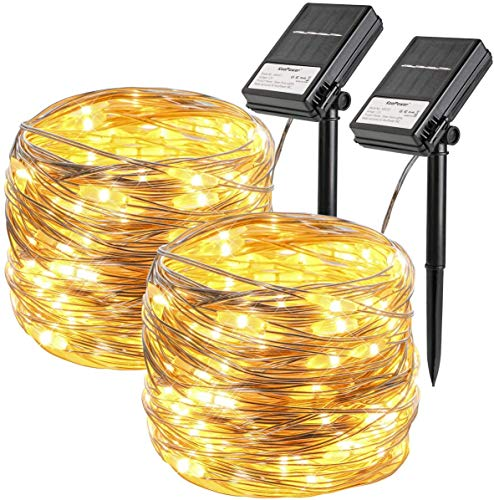 Koopower 2Stk 100 LED 10M Solar Silber Lichterkette, Solar und Batteriebetriebene Wasserdichte Lichterketten, Innen und Außen Lichterkette für Garten Weihnachten Hochzeit Party,Warmweiß