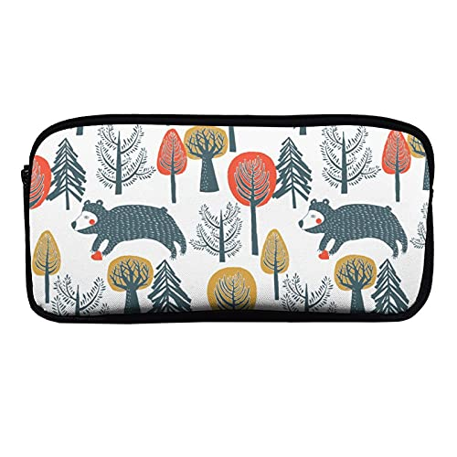 Caja de artículos de papelería pequeña y grande con cremallera, diseño de árbol animal, flor abstracta, oso de la colección de herramientas para la oficina woker hombres mujeres unisex