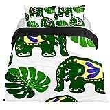 Eslifey - Juego de Funda de edredón de 3 Piezas con diseño asiático y Elefantes para Dormitorio (150 x 200 cm), Full 79 x 91 \19 x 29 in