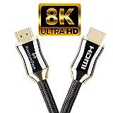 PremiumTech Cable HDMI 2.1 Europe - Câble Audio et Vidéo Ultra High Speed 48GB/s - Chargeur 8K et 10K à 60hz, 4K à 120hz – Dynamic HDR, Dolby Vision, HDR 10 - Or et Noir - 1m
