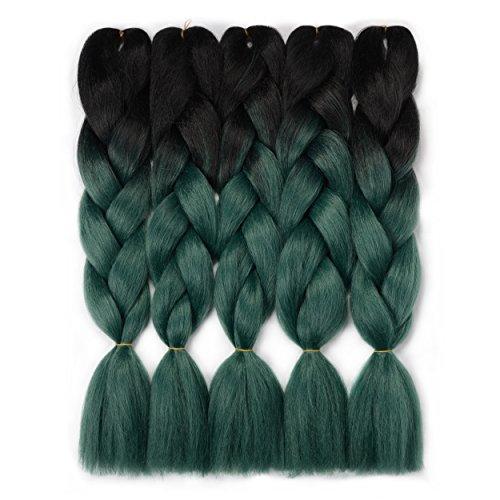 VCKOVCKO Ombre Jumbo Braiding Hair Extension Synthetic Kanekalon Fiber for Twist Braiding Hair,Kanekalon Jumbo Box Braiding Hair 24',5 Bundles/Lot ,Black-Dark Green