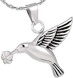 constantlife Cremation Jewelry for Ashes Memorial Urn Necklace Silver Plated Elegant Hummingbird Shape Pendant Keepsake for Human Pets