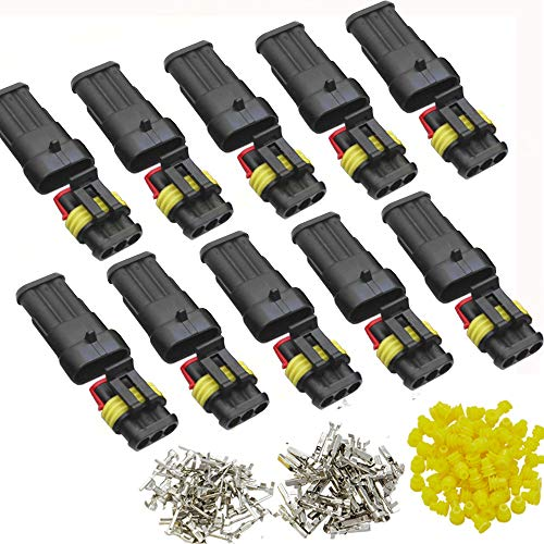 DONJON Conector eléctrico Impermeable kits, Coche Impermeable Rápido Enchufe 3 Pin, Enchufe de Terminal con Cable 16 AWG, para automóvil, Motocicleta, camión, Barco (10 sets)