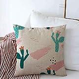 gong Federa per Cuscini Cactus Verde Baby Cactus Astratto Natura Vernice Rosa Botanico Car...