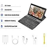 Tablette Tactile 10 Pouces Pas Cher 4G Android 8.1 Quad Core 3Go RAM 64Go ROM DUODUOGO P6 Batterie 8000mAh Netflix Double Caméras Doule SIM/WiFi/BT/OTG (Noir)