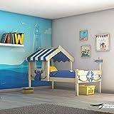 WICKEY Cama infantil CrAzY Sharky Cama individual 90x200 Cama aventuras con somier de madera, azul