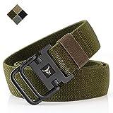 """TENINE Cinturón Elástico, Cinturones Para Hombre Mujeres Cinturón Táctico Cinta Cinturones de Lona Estilo Militar D Anillo Hebilla 1.5"""" Invisible Ajuastable Correa de Cintura (Ejercito Verde)"""
