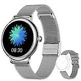 LIEBIG Smartwatch Mujer,Relojes Inteligentes IP67 con Ciclo Menstrual Femenino Pulsómetros Podómetro Cronómetros Monitor de Sueño Pulsera Actividad Inteligente para Android iOS(Plateado)