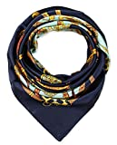 Elegant Women's Neckerchief Silk Feeling Satin Square Scarf Wrap 35' Chain Magic Mint and Navy by corciova