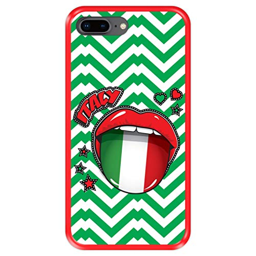Funda Roja para [ Apple iPhone 7 Plus - 8 Plus ] diseño [ Bandera de Italia, Pop Art Sexy Labios Rojos ] Carcasa Silicona Flexible TPU