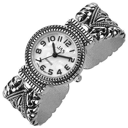 Urban / JAS damas plateado plata pulsera brazalete reloj Metal antiguos Marcasita estilo batería Extra
