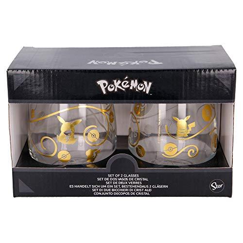 Pokemon | Juego De Vasos De Agua- Vaso Set 2 Piezas De Cristal - Vaso Clásico Con Grabado Para Licores, Cócteles Y Zumo - 510 Ml