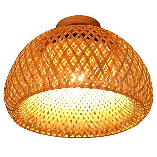 XCUGK Lampada da soffitto in bambù Intrecciato Lampada A Sospensione Vintage Stile Pastorale per Ristorante caffetteria Camera da Letto Ingresso 38cm