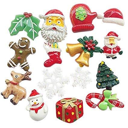 Chenkou Craft 20 Stück zufällige Auswahl aus Kunstharz, flache Rückseite, Weihnachtsmann, Weihnachtsbaum, Bier, Schneemann, Schneeflocke, Glöckchen, Socke, Basteln, Verzierung