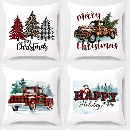 PSDWETS Christmas Decor Buffalo Check Plaid Truck Watercolour Christmas Tree Throw Pillow Covers Set of 4 Decor Cotton Polyester Cushion Case for Farmhouse Decor,18 x 18 Inches