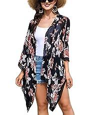 Irevial Vrouwen Chiffon Kimono Vesten Boho Strand Cover Up Lichtgewicht Bloemen Kimono Vesten Zomer Open Voorkant Beachwear voor Dames