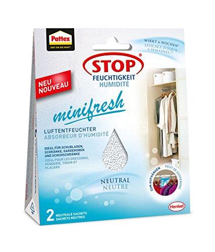 Pattex PLESN Stop Feuchtigkeit Minifresh Luftentfeuchter Sachet neutral/für Räume bis 2M³ oder Z.B. Schubladen oder Schränke/Wirkt bis zu 6 Wochen