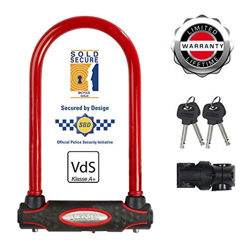 MASTER LOCK Bügelschloss [Schlüsselschloss] [mit Halterung] [Zertifiziertes Fahrrad Schloss - Secure-Gold-Zertifikat] [Rot] 8195EURDPROCOLR - Ideal für Fahrräder