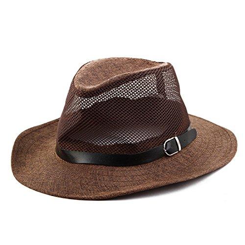Sourcingmap Homme été, Western Bord Large Maille Filet Chapeau Plage Chapeau Cowboy Cap