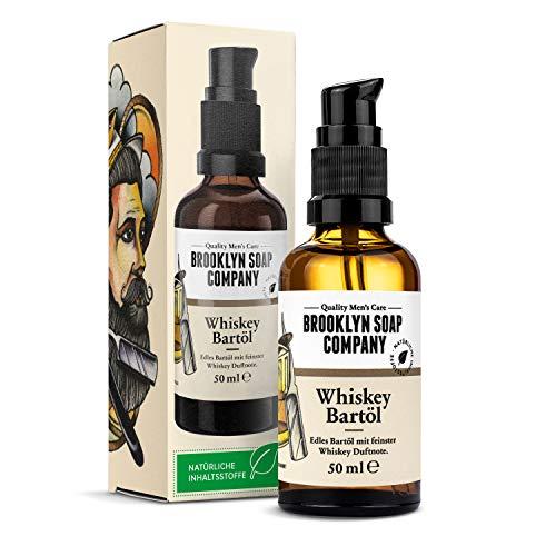 Whiskey Bartöl (50ml) · BROOKLYN SOAP COMPANY · Bart Öl mit edler Whiskey Duftnote für 3-Tage-Bart oder Vollbart · Beard Oil als Geschenk für Männer und für die Reise ✓