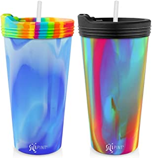 Silipint The Original Silicone Cups - 22oz Bomber Glass Set With Lids and Straws, Patented, BPA-Free, Shatter-proof Silicone Cup Drinkware (Arctic Sky & Hippy Cups, Bouncy Black Lid, Frosted Straw)