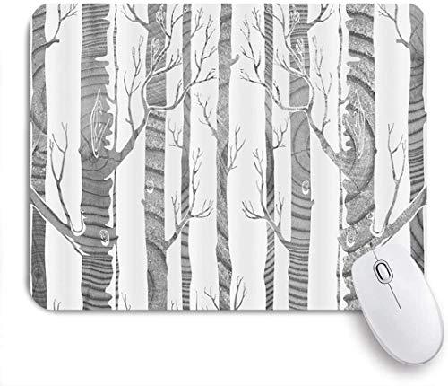 Mausmatte Mauspad Kunst Wald Fall Natur Illustration abstrakte Birken Stamm ohne Blätter angepasste Kunst Mousepad rutschfeste Gummibasis für Computer Laptop Schreibtisch Zubehör
