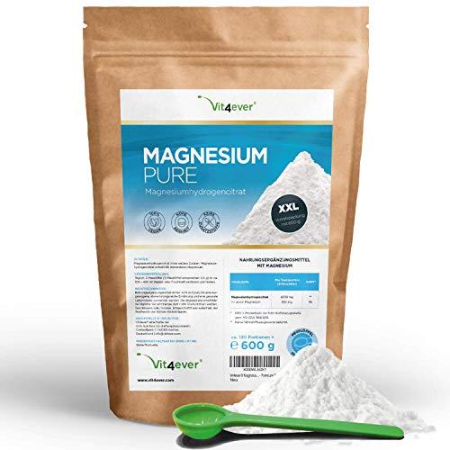 Magnesium Pure - 600 g Pulver (4,3 Monate Vorrat) - 100% Magnesiumcitrat - Laborgeprüft (Wirkstoffgehalt & Reinheit) - Reines Pulver ohne Zusatzstoffe - Premium Qualität - Vegan