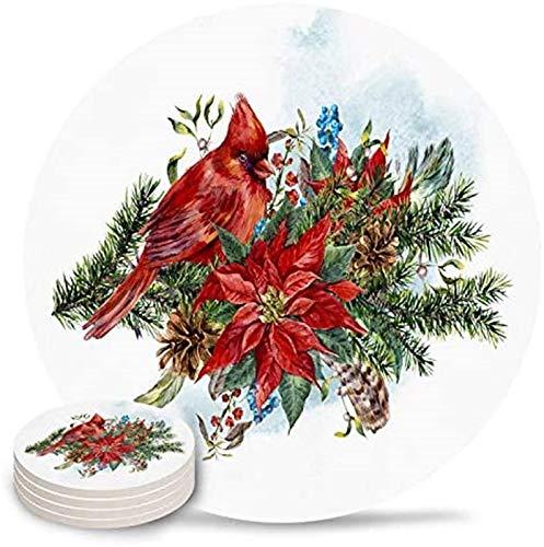 Posavasos para beber, acuarela, diseño de pájaro cardenal, de cerámica, con parte trasera de corcho y sin soporte para tazas, juego de 4 piezas, vacaciones de invierno