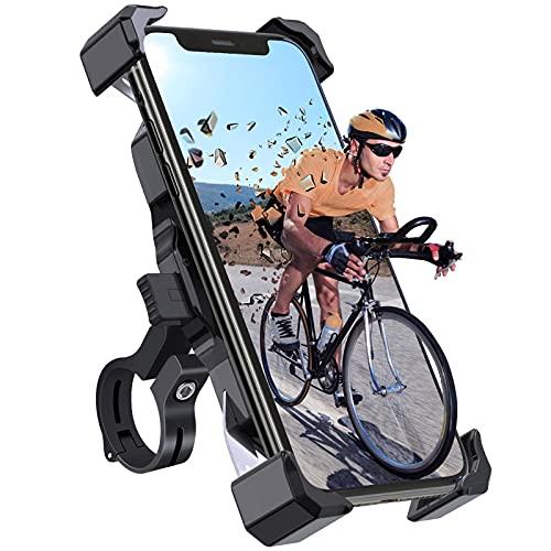 Tiakia Handyhalterung Fahrrad, Motorrad Scooter Fahrrad Universal Smartphone Handyhalter 360° Drehbarer - Edelstahl Fahrrad Halter für Phone 11Pro, Xs Max, XR,X,8, 7,6S, Für 4,7-6,5 Zoll Smartphone