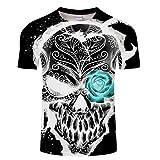 Camisetas Manga Corta Hombre Camiseta con Estampado De Calavera 3D Top Suelto De Manga Corta De Verano-L_Metro