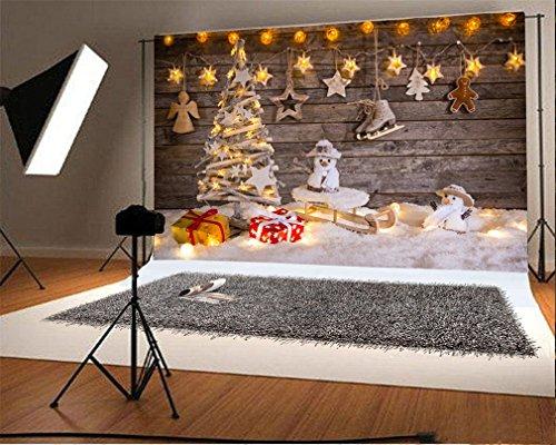 YongFoto 2,2x1,5m Fondo de Fotografia Árbol Navidad Regalos Trineo Muñeco Nieve Luces Brillantes RIC Tablón Madera Pesada Nieve Navidad Telón de Fondo Fiesta Niños Boby Estudio Fotográfico Acc