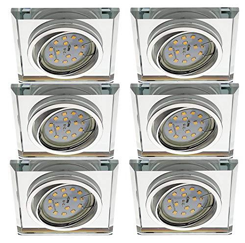 Trango 6er Set Design LED Einbaustrahler TG6729S-06GU5SD Einbauleuchte, Deckenstrahler, Strahler, Badleuchte aus Spiegelglas & Alu incl. 6x dimmbar 5 Watt Led Leuchtmittel Deckenleuchte, Deckenlampe