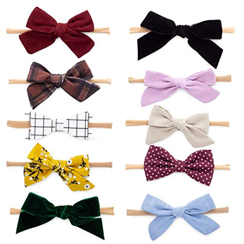 Parker Baby Girl Headbands and Bows, Assorted 10 Pack of Hair Accessories for Girls -'The Anne Set'