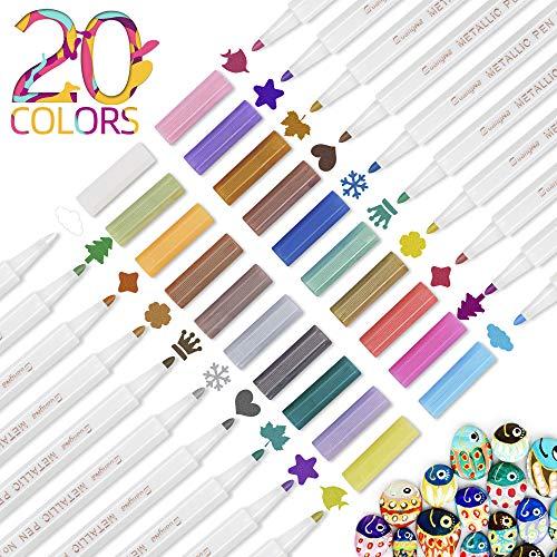 Parboom Marker Stifte, 20 Farben Acrylstiftsatz, 1-2mm Feiner Spitze Premium Marker Stifte, Schnelltrocknend Premium Metallischen Stift Pens für DIY Fotoalbum, Stein, Keramik