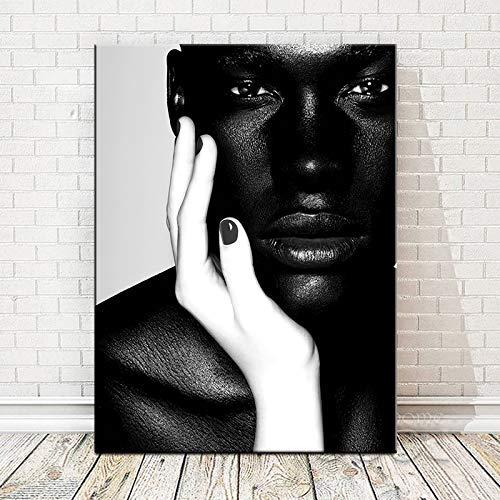 Carteles e impresiones de la pintura al óleo del hombre del arte africano desnudo en blanco y negro sobre lienzo. Cuadro decorativo sin marco para salón de estilo nórdico K29 70x100cm