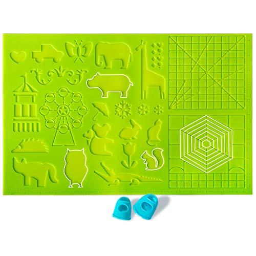 DERUC Matite 3D in silicone per disegno creativo, tappetino in silicone, 41,5 cm x 27,5 cm, con modelli di base per bambini e principianti, 2 letti con protezione dal calore, colore verde