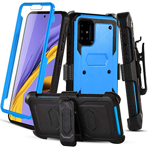 RioGree Phone Case for Samsung Galaxy A51 (4G) with Belt Clip Screen Protector Kickstand Heavy Duty Durable for Women Men Girls Boys - Blue