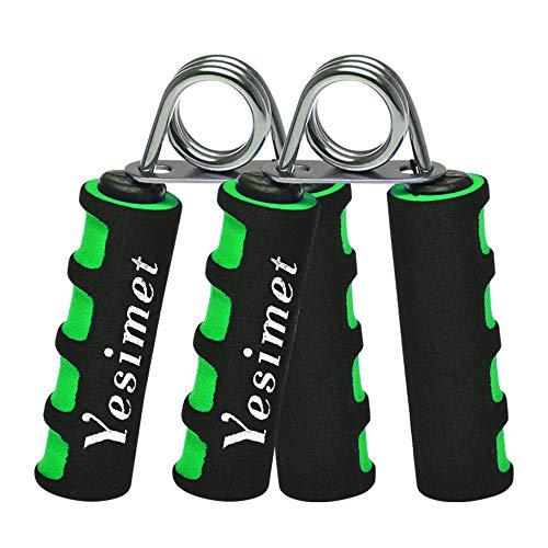 YESIMET Hand Grip Strengthener Set, Finger Gripper, Hand Grippers - Soft Foam Hand Exerciser for Quickly Increasing Wrist Forearm and Finger Strength, 2 Pack (Green)