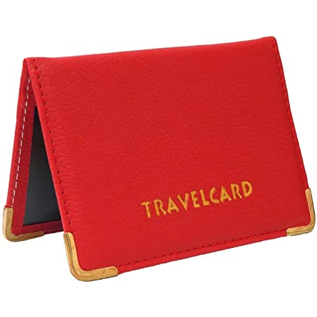 Soft Leather Travel Card Bus Pass Credit Card ID Card Wallet Cover Case Holder by Kwik Buy (Red)
