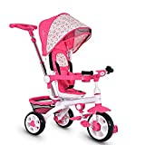 HONEY JOY Tricycle for Toddlers, 4 In 1 Baby Stroll Trike w/Adjustable Canopy & Storage Basket, Detachable Sponge Guardrail, Safety Harness, Kids Tricycle w/Push Handle, for 1 Year Old Boy Girl (Pink)
