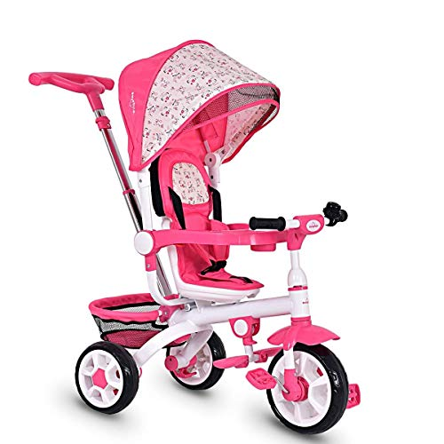 HONEY JOY 4-in-1 Kids Tricycle Steer Stroller Toy Bike w/Canopy Basket (Pink)