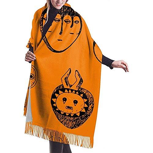 Sjaal Vrouwen Naadloos Patroon Met Afrikaanse Maskers. Doodle Ink Tekening. Achtergrondontwerp met de hand getekend. Vector Illustratie Sjaal