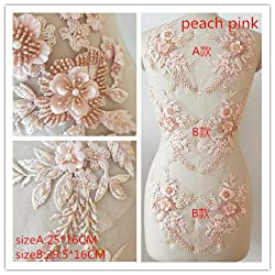 Peach Pink Hand Beaded Flower Sequence DIY Decorated Costume